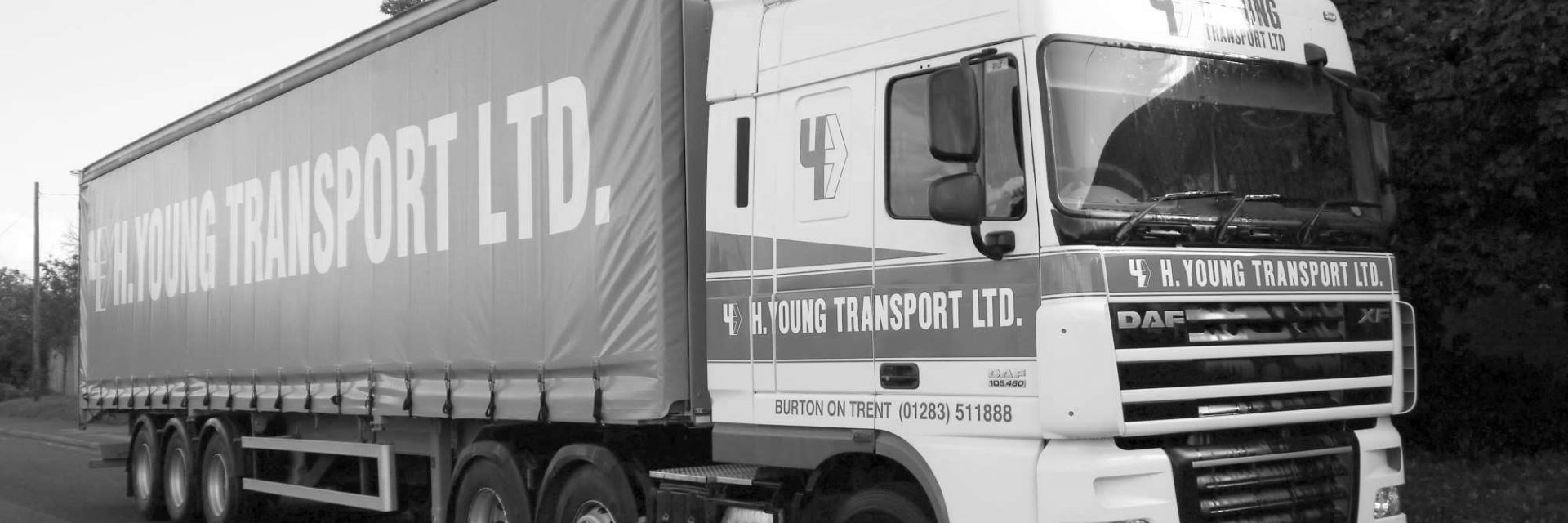 H Young Transport Liveried Trailer in black and white